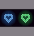 neon heart in blue and green color vector image