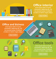 office tools banner horizontal set flat style vector image vector image