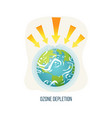 ozone depletion earth with broken layers icon vector image vector image