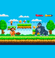 pixel game with caveman and huge gorilla vector image