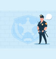 policeman with chat bubble wearing uniform cop vector image