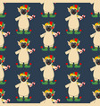 pug in elf costume seamless pattern vector image vector image