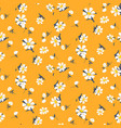 retro daisy simple yellow florals seamless vector image vector image