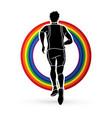 runners sprinting marathon running vector image