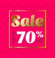 sale banner discount 70 special offer sale pink vector image vector image