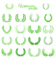 Set of green watercolour wreaths vector image