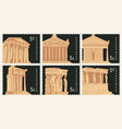 set postage stamps with ancient greek landmarks vector image vector image
