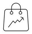 shopping bag with a graph thin line icon package vector image vector image