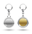 silver and gold keychains in round shapes vector image