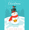snowman happy new year and merry christmas vector image