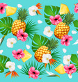 summer tropical seamless pattern with fruits vector image