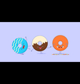 Three kawaii donuts vector image