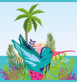 tropical beach scenery theme cartoon vector image vector image