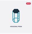 two color hexagonal prism icon from shapes vector image vector image