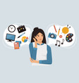 woman is thinking about career business or hobbies vector image vector image