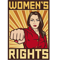 women rights poster - pop art woman punching vector image vector image