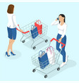 young women with shopping cart vector image vector image