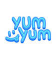 yum yum banner icon with funny smile and blue vector image
