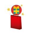 gift box red bag gift star design vector image
