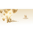 16th anniversary celebration background vector image