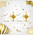 2020 new year card gift holiday gold decoration vector image vector image