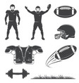 american football icons collection set vector image