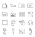 Audio and video icons set outline style vector image