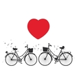 black bike and red heart on white background vector image vector image