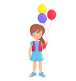 brunette doll like girl with air balloons vector image vector image