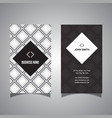 business card with diamond pattern design vector image vector image