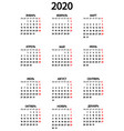 calendar for year 2020 on white vector image vector image