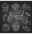 chalk drawing set cakes vector image vector image