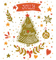 Christmas sketchy greeting card with a Christmas vector image vector image