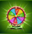 colorful fortune wheel isolated on green vector image vector image