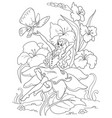 coloring page thumbelina sitting on a flower vector image