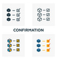 confirmation icon set four elements in diferent vector image