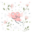 cute heart flying and flowers vector image vector image