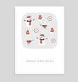 cute holly and jolly christmas greeting card vector image vector image
