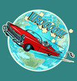 electric vehicle with an astronaut flying in space vector image vector image
