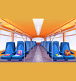 empty school bus interior with blue seats vector image vector image