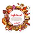 fastfood restaurant menu sketch poster vector image vector image