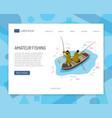 fishermen isometric web banner vector image vector image
