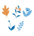 flat abstract blue orange leaves set vector image vector image
