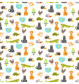 flat style colorful seamless pattern with home pet vector image vector image