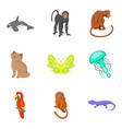 good animal icons set cartoon style