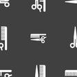 hair icon sign Seamless pattern on a gray vector image vector image