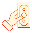 hand with money flat icon dollar in hand orange vector image vector image