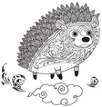 hedgehog cute coloring vector image vector image