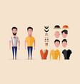 hipster character design with hipster elements and vector image