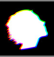human head shape with chromatic abberration effect vector image vector image